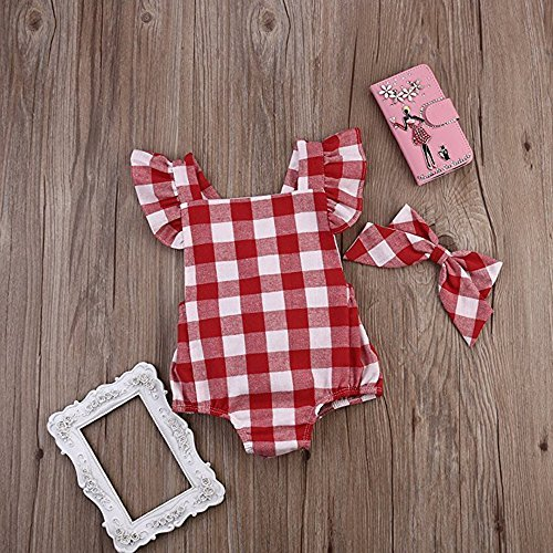237bcbc6b8f4 Overalls – Newborn Infant Baby Girls Red Plaids Checks Fly Sleeves Romper  Jumpsuit Bodysuit (6-12M(Tag80), Red) Offers
