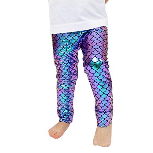 Toddler Baby Girl Ruffle Leggings Mermaid Rainbow//Fish Scale Bottom Trousers Pant